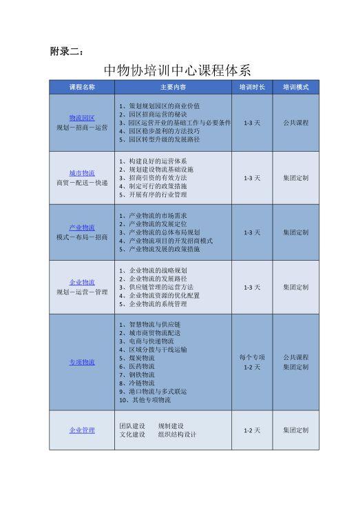 中物协物流培训中心招生简章